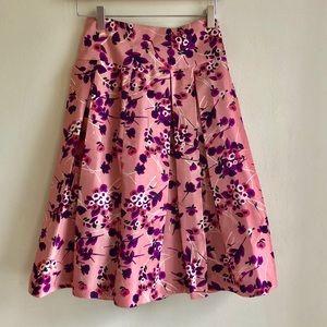 Floral High Waist Midi Skirt